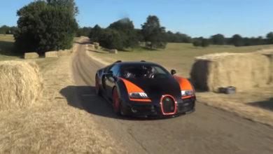 Гиперкар Bugatti Veyron показал яркий дрифт. Видео