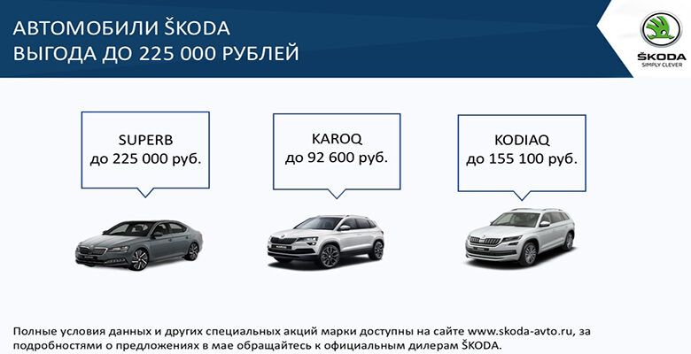 Выгодные условия на покупку автомобилей ŠKODA в мае